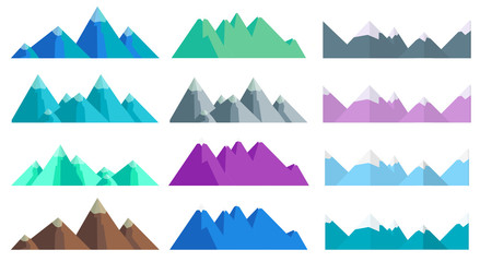 Cartoon hills and mountains set, isolated landscape elements