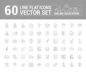 Vector graphics set. Online education. Distance learning. Internet training student. Concept home schooling in inear, contour, thin, flat, design. Element, emblem, symbol, icon, sign, for web site.