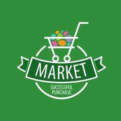 Round vector logo shopping cart
