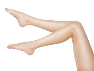 Beautiful female legs  isolated on white