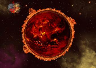 Planet in Flammen / Weltall