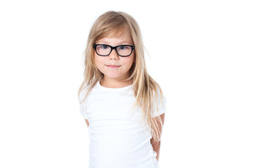 child- girl with glasses - in a white t-shirt - holding glasses.