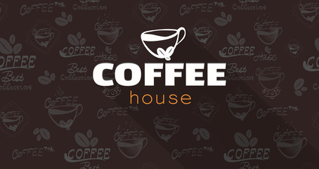 Coffee logo text background . Perfect design for headline, and banner.