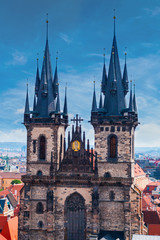 Church of Our Lady before Tyn, Tyn Church details. Prague, Czech Republic, Close up