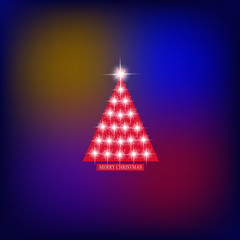 Abstract background with christmas tree and stars. Illustration in blue, red and white colors.
