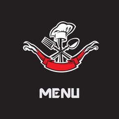 restaurant menu design with spoon, knife and fork