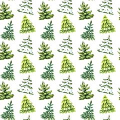 Watercolor Christmas tree seamless pattern.