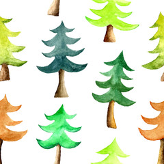 Watercolor Christmas tree seamless pattern.