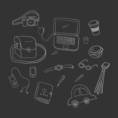 Camera doodle vector on dark gray background