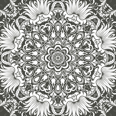 Mandala seamless floral pattern with flowers and leaves. Coloring, white and black. Seamless pattern. Doodle lace mandala. Vector illustration.