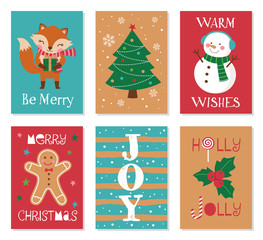 Collection of christmas card illustration templates