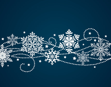 Winter background with snowflake silhouettes. New Year decoration.