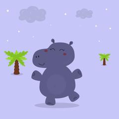 cheerful hippo at night. Printable templates