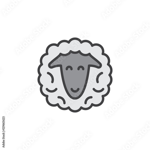 Sheep Head Line Icon Filled Outline Vector Sign Linear Pictogram Isolated On White