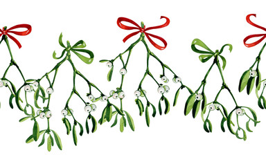 Seamless watercolor Christmas background with mistletoe and red ribbon. Use it for wrapping paper, card or textile design. Hand drawn mistletoe twigs. Christmas mistletoe. Winter holiday background.