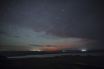 Astonishing starry the night . Astrophotography. Yenisei river.