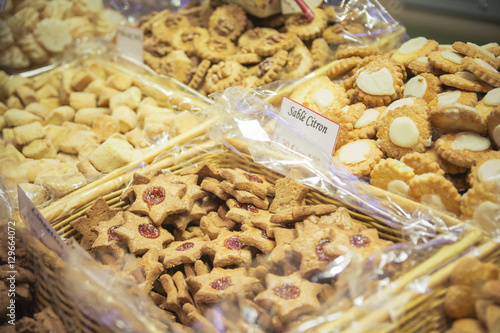 Traditional French Butter Cookies In A Christmas Market Stall