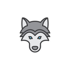 Wolf head line icon, filled outline vector sign, linear colorful pictogram isolated on white. Symbol, logo illustration