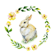 Watercolor rabbit sitting on grass with yellow flower and herbs wreath. May be used for Easter textile decoration print, invitation card, child wear decor or wrapping paper design.