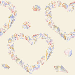 Seashells heart seamless pattern on nude background