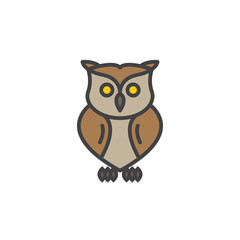 Owl line icon, filled outline vector sign, linear colorful pictogram isolated on white. Symbol, logo illustration