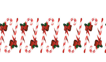 Candy cane Christmas seamless decoration. May be used for card design or wrapping paper decoration.