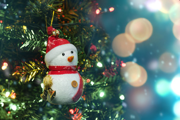 close up soft focus snowman on blurry christmas tree backgroud