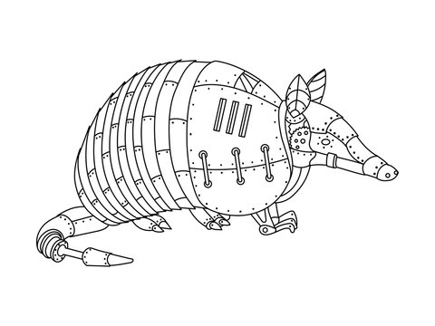 Steampunk style armadillo coloring book vector