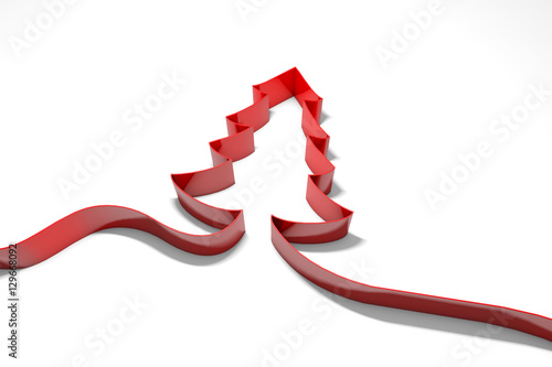 """""""Christmas Tree Red Ribbon Background. 3D Rendering"""" Stock"""