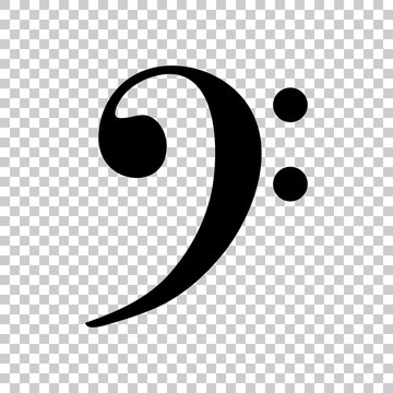 Bass Clef icon. Black icon on transparent background.