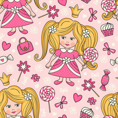 Seamless pattern with princess