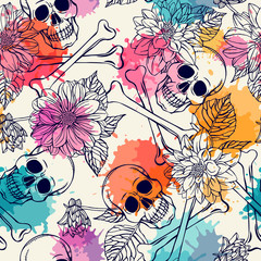 Seamless pattern with skull and dahlia