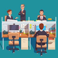 Cubicle office work space with employees