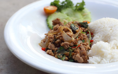 Close up Rice topped with stir fried minced pork and basil