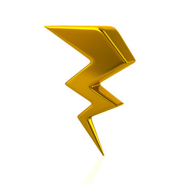 Golden lightning icon 3d illustration