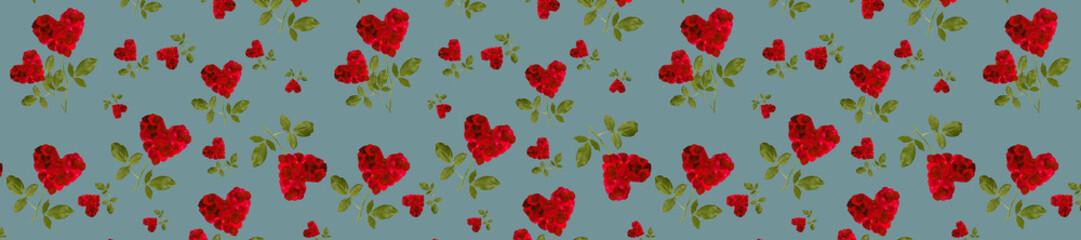 Wall Mural -  panorama red heart rose petals on a stalk of green leaves