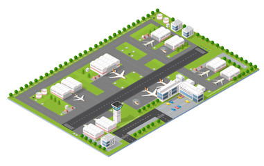 Isometric 3D city airport with transport aircraft and the runway. Skyscrapers, houses and streets with urban traffic movement of the car with trees and nature