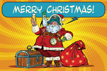 Santa Claus pirate wishes merry Christmas