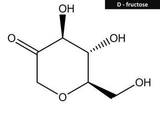 Molecular structure of Fructose (fruit sugar)