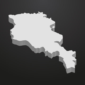 Armenia map in gray on a black background 3d