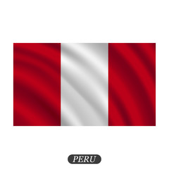 Waving Peru flag on a white background. Vector illustration