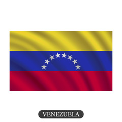 Waving Venezuela flag on a white background. Vector illustration