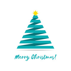 Vector illustration of stylized ribbon Christmas tree with yellow star.