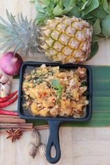 Pineapple curry with pork in pan delicious.