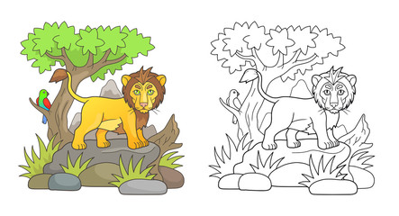 cartoon lion looks around the savannah standing on a rock