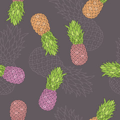 Pineapple graphic orange green pink grey color seamless pattern illustration vector