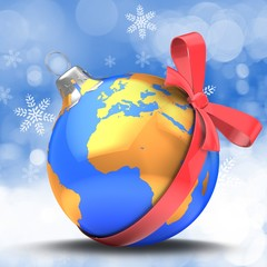 3d illustration of blue Christmas ball over winter background with earth map and red bow