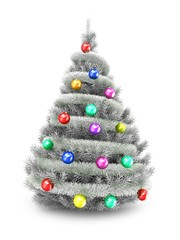 3d illustration of silver Christmas tree over white background with tinslel and colorful balls