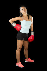 fitness woman with girl red boxing gloves posing in defiant and competitive fight attitude