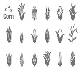 Corn icons. Vector illustration.